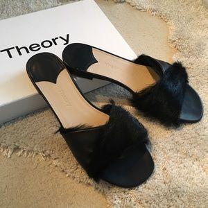 Lea slides theory black fur slides new leather 7.5